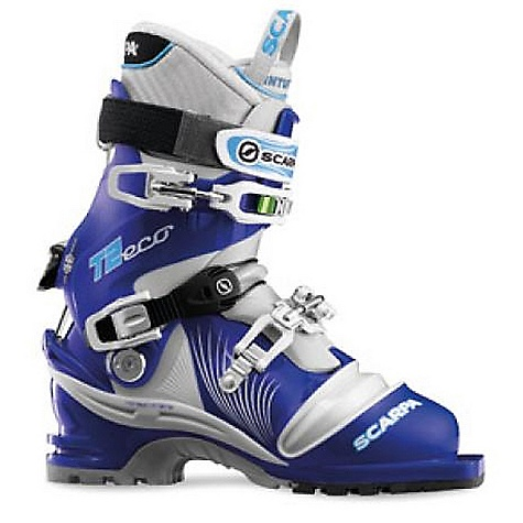 Ski Free Shipping. Scarpa Women's T2 ECO DECENT FEATURES of the Scarpa Women's T2 ECO Active Power Strap Intuition Performance Flex G liner Pebax Rnew plastic Replaceable edge guard Triple-density foot The SPECS Inner Boot: Intuition Performance Flex G Shell | Cuff | Tongue: Pebax Rnew Buckles: 3 + Active Power Strap Forward Lean: 16deg - 19deg Sole: Vibram Print Weight: 1685g; 3lbs 11oz (1/2 pair size 27) Forefoot width: 102mm - $598.95