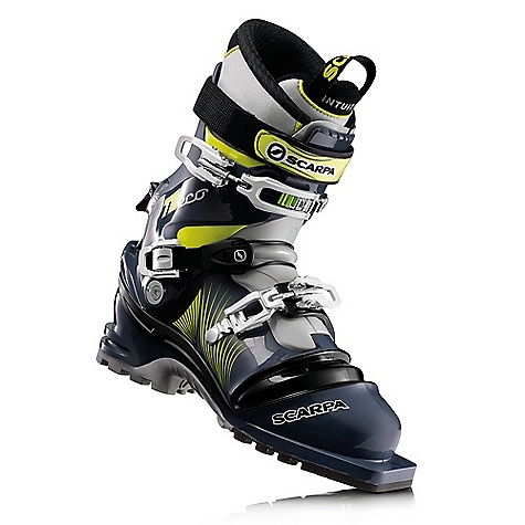 Ski On Sale. Free Shipping. Scarpa Men's T2 ECO DECENT FEATURES of the Scarpa Men's T2 ECO Active Power Strap for improved responsiveness Intuition Performance Flex G liner offers incredible fit with incredible touring/skiing performance Pebax Rnew plastic which is renewable Replaceable edge guard protects bellows and disperses forefoot buckle pressure One extra pair of edge guards are included Triple density foot maintains perfect flex with maximum lateral stability The SPECS Inner Boot: Intuition Performance Flex G Shell | Cuff | Tongue: Pebax Rnew Buckles: 3 + Active Power Strap Forward Lean: 16deg - 19deg Sole: Vibram Print Weight: 1685g; 3lbs 11oz (1/2 pair size 27) Forefoot width: 102mm - $448.99