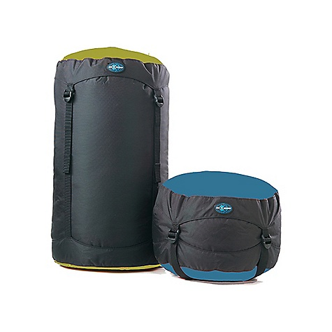 On Sale. Sea to Summit Compression Sacks DECENT FEATURES of the Sea to Summit Compression Sacks Flip-top-lid design prevents strap tangling Made of heavy-duty 210 D PU-coated nylon Four straps for even compression Extra long straps so it's easy to fill to capacity Nylon webbing pull handle on bottom Black body with assorted end colors The SPECS for 6 Liter Dimension: 5.5in. x 14in. Weight: 3.9 oz / 110 g Volume: 6 liter to 2 liter The SPECS for 10 Liter Dimension: 7in. x 16in. Weight: 4.5 oz / 128 g Volume: 10 liter to 3.3 liter The SPECS for 15 Liter Dimension: 8in. x 18in. Weight: 5.5 oz / 156 g Volume: 15 liter to 5 liter The SPECS for 20 Liter Dimension: 9in. x 20in. Weight: 6.2 oz / 175 g Volume: 20 liter to 6.5 liter The SPECS for 30 Liter Dimension: 10.5in. x 23in. Weight: 7.6 oz / 215 g Volume: 30 liter to 10 liter This product can only be shipped within the United States. Please don't hate us. - $19.95