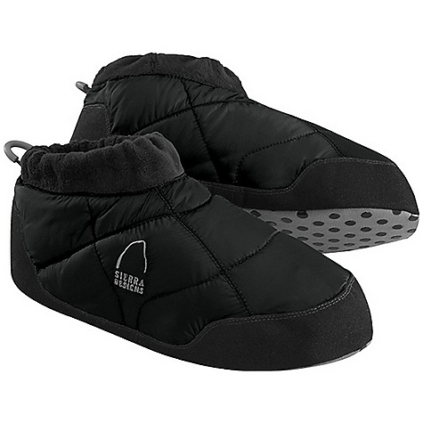 Camp and Hike Sierra Designs Men's Down Moc DECENT FEATURES of the Sierra Designs Men's Down Moc Heel Pull Tab Elastic Cuff Fleece Cuff Heavy Duty Nylon Non-Skid Sole The SPECS Insulation: Elevation: 700 Fill-Power Down Shell: 100% Recycled Polyster Ripstop - $44.95