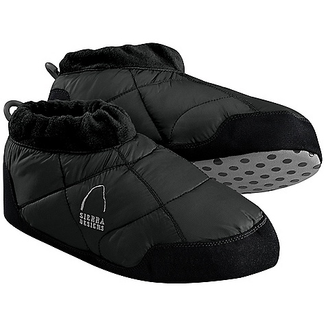 Camp and Hike Sierra Designs Women's Down Moc DECENT FEATURES of the Sierra Designs Women's Down Moc Heel Pull Tab Elastic Cuff Fleece Cuff Heavy Duty Nylon Non-Skid Sole The SPECS Insulation: Elevation: 700 Fill-Power Down Shell: 100% Recycled Polyster Ripstop - $44.95