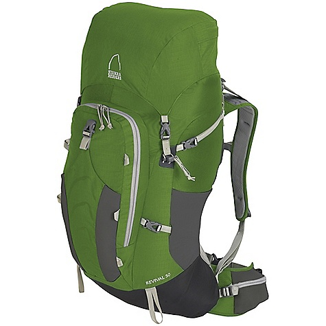 Camp and Hike Free Shipping. Sierra Designs Revival 50 Pack DECENT FEATURES of the Sierra Designs Revival 50 Pack Die-cut foam shoulder straps with mesh panels Thermo-molded, pre-curved waistbelt Ventilation conduit Ventilation detailing on lumbar pad Load-lifter/stabilizer straps Sternum strap Hipbelt stabilizers Forward-pull waistbelt adjustment Single DAC aluminum stay Curv frame sheet Top Loading Front Panel Access Hydration Ready Super-Size-Me Front Pocket BPA-Free Waterbottle Pockets Security Pocket with Key Clip Hipbelt Snap-or-Snack Pockets Side Compression Straps Load compresion strap Storm Collar Trekking Pole Loops Integrated Bottle Opener Haul Handle Radio/GPS Attachment Points The SPECS Load Capacity: 50 lbs 150 D Nylon Rain Dobby 315 D Nylon Cordura 630 D Nylon The SPECS for S/M Torso Fit Range: 16-18.5in. Volume: 2950 cubic inches Weight: 3 lbs 10 oz Dimension: 30 x 13 x 14in. The SPECS for M/L Torso Fit Range: 18-20.5in. Volume: 3100 cubic inches Weight: 3 lbs 12 oz Dimension: 31 x 13 x 14in. - $259.95