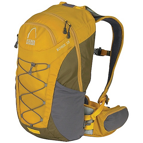 Camp and Hike Free Shipping. Sierra Designs Rohn 15 DECENT FEATURES of the Sierra Designs Rohn 15 Pack Hydration Ready Anti-Slosh System Stretch Side Pockets Security Pocket with Key Clip Hipbelt Snap-or-Snack Pockets Bike Light Attachment Point Front Bungee for External Storage The SPECS 100 D Cordura 210 D HD Nylon The SPECS for S/M Torso Fit Range: 16-18.5in. Volume: 950 cubic inches Weight: 1 lb 13 oz Load Capacity: 19in. Dimension: 19 x 9 x 8in. The SPECS for M/L Torso Fit Range: 18-20.5in. Volume: 1000 cubic inches Weight: 1 lb 15 oz Load Capacity: 20in. Dimension: 20 x 9 x 8in. - $109.95