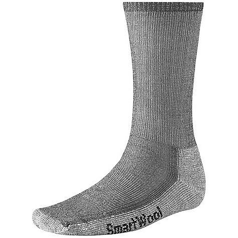 Camp and Hike The Smartwool Hiking Medium Crew Sock is the winner of Backpacker Magazine's Editors' Choice Award, and a great all-purpose three-season outdoor sock designed for rugged day hikes or moderate backpacking. This Smartwool hiking sock Features an arch brace that holds the sock in place and adds additional support, and a flat-knit toe seam that keeps you comfortable throughout the day. Features of the Smartwool Hiking Medium Crew Sock Sizing clearly indicated on the sock Flat knit toe seam Elasticized arch brace Made in USA - $18.95