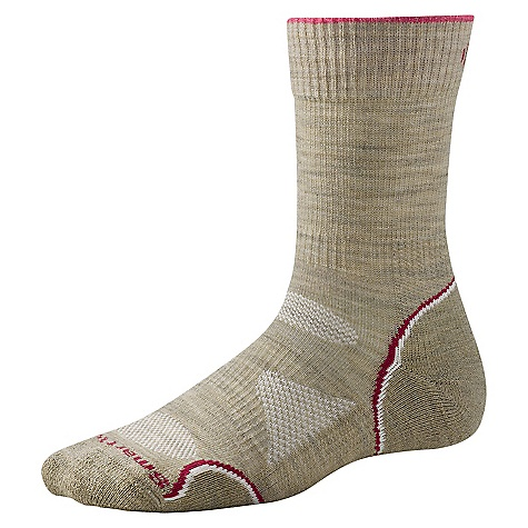On Sale. Smartwool Women's PhD Outdoor Light Crew Sock DECENT FEATURES of the Smartwool Women's PhD Outdoor Light Crew Sock 4-Degree Fit System for all day performance fit WOW Technology in high density impact zones to reduce shock and abrasion Strategic mesh zones for maximum ventilation The SPECS Height: Crew Cushioning: Light half cushion Fabric: 70% Merino Wool, 28% Nylon, 2% Elastane - $12.99