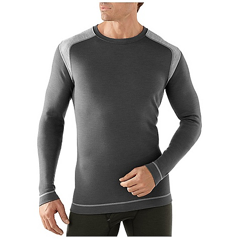 Free Shipping. Smartwool Men's Midweight Crew DECENT FEATURES of the Smartwool Men's Midweight Crew Form Fit Interlock knit, UPF 50+ Crew neck with set-in sleeves Shoulder panels eliminate top shoulder seams Flatlock seam construction is designed to eliminate chafing The SPECS Garment Weight: 9.0 oz / 255 g Fabric Weight: 250gm/m2 / 7.4oz/yd2 100% Merino Wool - $94.95