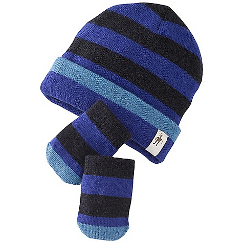 Entertainment Smartwool Kids' Stripe Hat - Mitt Set DECENT FEATURES of the Smartwool Kids' Stripe Hat / Mitt Set Double layer construction with roll cuff ear band for maximum warmth Horizontal stripe pattern detail The SPECS Fabric: Hat: 95% Merino Wool, 4% Nylon, 1% Elastane, Mitt: 95% Merino Wool, 4% Nylon, 1% Elastane - $31.95