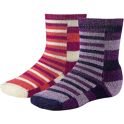 Smartwool Tots Split Stripe DECENT FEATURES of the Smartwool Tots Split Stripe 2 Pack The SPECS Fabric: 81% Merino Wool, 11% Nylon, 1% Elastane Height: Crew Cushioning: Non Cushion - $19.95