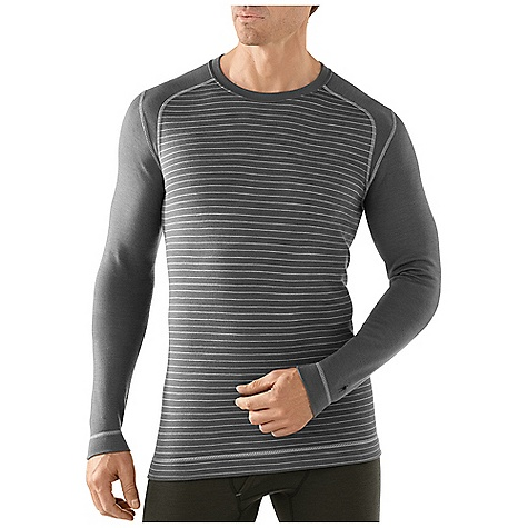 Free Shipping. Smartwool Men's Midweight Pattern Crew DECENT FEATURES of the Smartwool Men's Midweight Pattern Crew Form Fit Interlock knit, UPF 50 Crew neck with set-in sleeves Shoulder panels eliminate top shoulder seams Flatlock seam construction is designed to eliminate chafing The SPECS Garment Weight: 9.17 oz / 260 g Fabric Weight: 250 gm/m2 / 7.4 oz/yd2 100% Merino Wool - $99.95