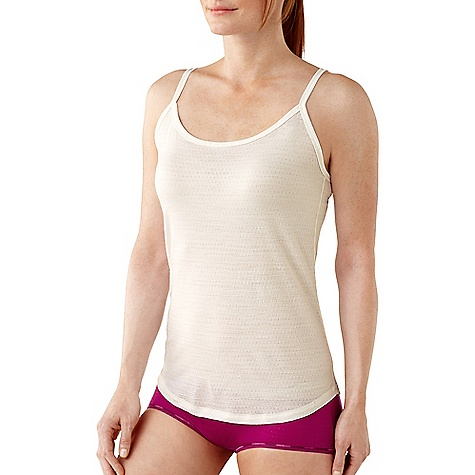 Free Shipping. Smartwool Women's Microweight Cami DECENT FEATURES of the Smartwool Women's Microweight Cami Form Fit Jersey knit UPF 50+; Pointelle UPF 25 Coats Seamsoft thread on flatlock internal seams for exceptional smoothness and comfort Adjustable spaghetti straps and shaped bottom hem for body enhancing fit Contrast color interior stitching and bartacks Interior heat transfer logo The SPECS Garment Weight: 3.53 oz / 100 g Fabric Weight: 150 gm/m2 / 4.5 oz/yd2 Pointelle: 98% Merino Wool, 2% Nylon Flat Jersey: 96% Merino Wool, 4% Elastane - $49.95