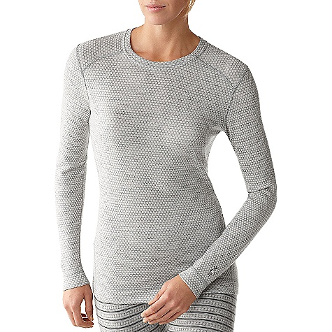Free Shipping. Smartwool Women's Midweight Pattern Crew DECENT FEATURES of the Smartwool Women's Midweight Pattern Crew Form Fit Jacquard knit; UPF 50+ Back body seam wraps to front for body enhancing fit Shoulder panels eliminate top shoulder seams Flatlock seam construction eliminates chafing Heat transfer logo at left sleeve cuff The SPECS Garment Weight: 7.4 oz / 210 g Fabric Weight: 7.4 oz/yd2 / 250 gm/m2 100% Merino Wool - $99.95