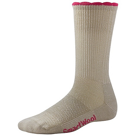 Camp and Hike Features of the Smartwool Women's Hiking Ultra Light Crew Sock Mesh ventilation zone Flat knit toe seam Elasticized arch brace Made in USA - $16.95