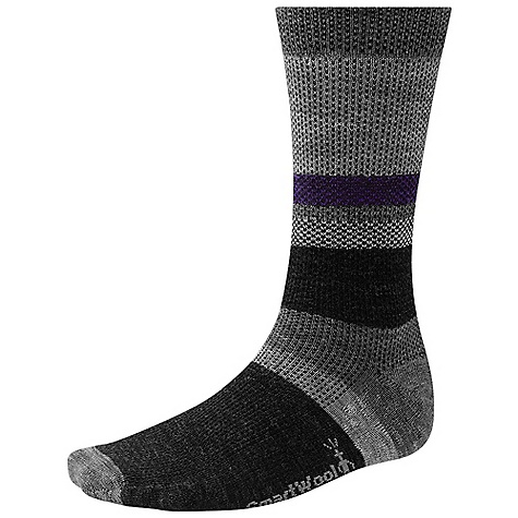 Smartwool Distressed Stripe Sock DECENT FEATURES of the Smartwool Distressed Stripe Sock Supportive arch brace Strategic mesh zones for maximum ventilation WOW technology The SPECS Height: Crew 73% Merino Wool, 25% Nylon, 2% Elastane - $19.95
