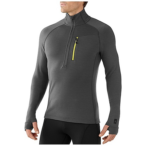 Free Shipping. Smartwool Men's MerinoMax Half Zip DECENT FEATURES of the Smartwool Men's MerinoMax Half Zip Semi-Form Fit MerinoMax Double Jersey knit 13in. (34cm) zipper with semi-locking logo slider Secure zip chest pocket with Durawelt finish, logo zipper extension and Durawelt grommet for media cord routing Low-profile in-seam thumbholes at cuffs Flatlock seam construction eliminates chafing Heat Transfer logo at left sleeve cuff The SPECS Fabric: 97% Merino Wool, 3% Elastane Garment Weight: 15.17 oz / 430 g Fabric Weight: 8.3 oz/yd2 / 280 gm/m2 - $169.95