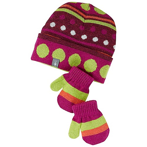 Entertainment Smartwool Kids' Dot Hat - Mitt Set DECENT FEATURES of the Smartwool Kids' Dot Hat / Mitt Set Double layer construction with roll cuff earband for maximum warmth Horizontal stripe/dot pattern detail Mitten for sizes 0-6m and 6-12m are thumbless The SPECS Fabric: 95% Merino Wool, 4% Nylon, 1% Elastane - $31.95