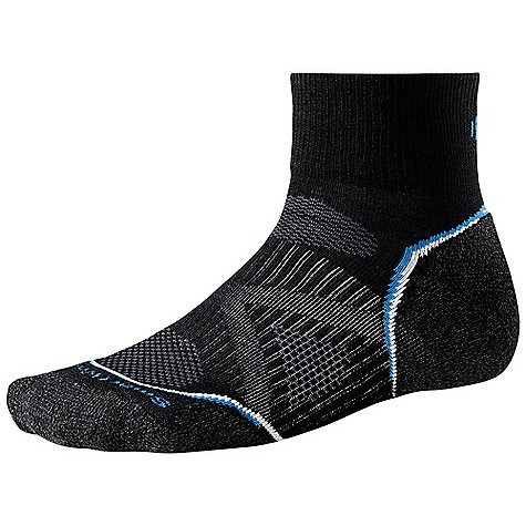 Fitness Smartwool PhD Running Light Mini DECENT FEATURES of the Smartwool PhD Running Light Mini New 4 Degree Elite Fit System uses two elastics for greater stretch and recovery to keep the sock in place Patent pending RelioWool Technology in nigh impact areas provides the longer lasting protection to keep feet comfortable Flat knit durable toe seam for high burst strength Double layer 1 x 1 ribbed welt The SPECS Height: Mini Overall Height: 3.75in. 70% Merino Wool, 28% Nylon, 2% Elastane - $16.95
