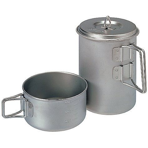 Free Shipping. Snow Peak Titanium Mini Solo Cook Set DECENT FEATURES of the Snow Peak Titanium Mini Solo Cook Set Included mesh stuff sack Folding handles and graduated markings for easily measuring volume The SPECS Weight: 5.5 oz Dimension:  4 1/4 x 5 1/8in. Capacity: Pot: 28 fl oz, Cup: 10 fl oz Titanium - $65.95