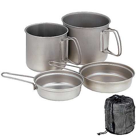 Free Shipping. Snow Peak Titanium Trek Combo Cook Set The SPECS Weight: 12.6 oz Dimension: Large pot:  5 3/4 x 5 7/8in., Small pot:  5 3/4 x 5 7/8in. Capacity: Pot1: 47 fl oz, Lid1: 17 fl oz / Pot2: 30 fl oz, Lid2: 8 fl oz Titanium - $105.95