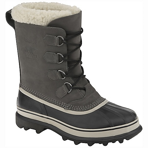 Free Shipping. Sorel Men's Caribou Boot FEATURES of the Sorel Men's Caribou Boot Upper: Waterproof nubuck leather upper. Seam sealed waterproof construction Insulation: Removable 9 mm washable recycled felt inner boot with Sherpa Pile snow cuff Midsole: 2.5 mm bonded felt frost plug Outsole: Handcrafted waterproof vulcanized rubber shell with Sorel aero-trac non loading outsole - $149.95