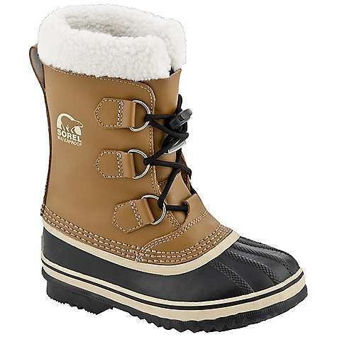On Sale. Free Shipping. Sorel Kid's Yoot Pac Boot The Yoot Pac Boot by Sorel is a seam-sealed, waterproof leather, boot with removable felt liner, snow cuff, and handcrafted rubber shell and outsole. Features: Upper: Seam-sealed waterproof PU coated leather Acrylic/wool blend snow cuff Insulation: Removable 9mm washable recycled felt InnerBoot Removable 9mm ThermoPlus felt InnerBoot 2.5mm bonded felt frost plug - $54.99