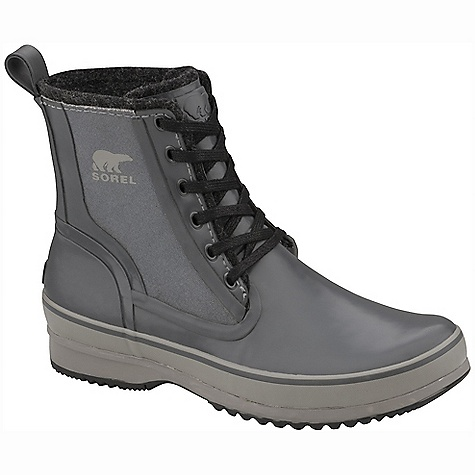 On Sale. Free Shipping. Sorel Men's Woodbine High CVS Boot DECENT FEATURES of the Sorel Men's Woodbine High CVS Boot Waterproof vulcanized rubber upper with gusseted tongue Recycled felt insulation Herringbone outsole design The SPECS Weight: 21 oz / 595 g Shaft Height: 7in. / 17.8 cm - $93.99