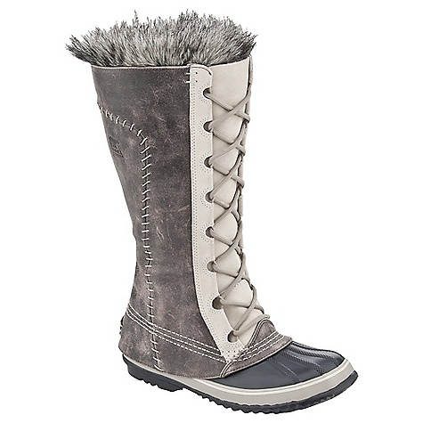 On Sale. Free Shipping. Sorel Women's Cate the Great Boot DECENT FEATURES of the Sorel Women's Cate the Great Boot Seam-sealed waterproof construction Waterproof full-grain and suede upper Removable 6mm recycled felt Inner Boot Faux fur snow cuff 25mm bonded felt frost plug Handcrafted waterproof vulcanized rubber shell with herringbone outsole The SPECS Weight: 30 oz / 850 g Shaft Height: 14in. / 35.6 cm - $128.99