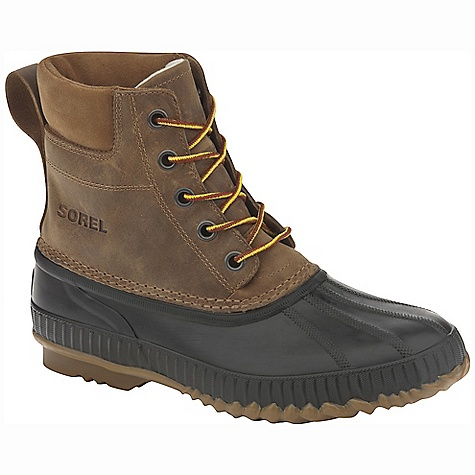 The Sorel Men's Cheyanne Lace Full Grain is a mid height boot for work or play in cold winter weather. The Cheyanne has an eight inch shaft height, with seam-sealed waterproof construction to keep slush and Snow at bay. The waterproof leather Upper is durable while remaining flexible for comfort. The inside is packed with 200g Thinsulate Insulation for warm, cozy feet throughout the day, rated down to -40 degrees Fahrenheit. The rubber tread keeps your feet on the ground in slippery situations. Pretty darn manly. Features of the Sorel Men's Cheyanne Lace Full Grain Upper: Waterproof full-grain leather Upper. Seam sealed waterproof construction Insulation: 200g Insulation Footbed: Removable molded EVA Footbed Outsole: Handcrafted waterproof vulcanized rubber shell with herringbone Outsole - $134.95