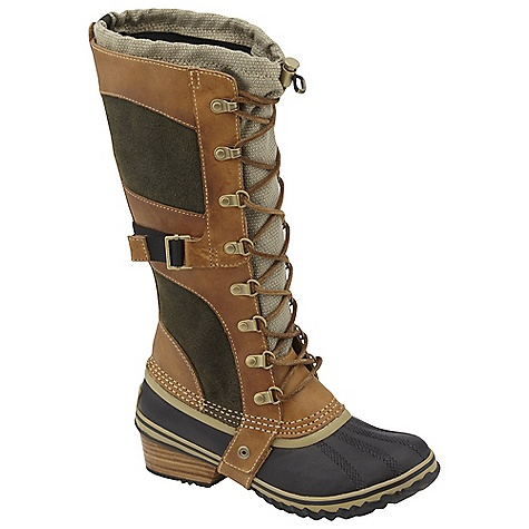 On Sale. Free Shipping. Sorel Women's Conquest Carly DECENT FEATURES of the Sorel Women's Conquest Carly Full grain leather and nylon upper Full length gusset construction with bungee and lace closure for customized fit Insulated waterproof rubber shell with stacked leather heel The SPECS Weight: 24 oz / 680 g Shaft Height: 13in. / 32.5 cm - $152.99