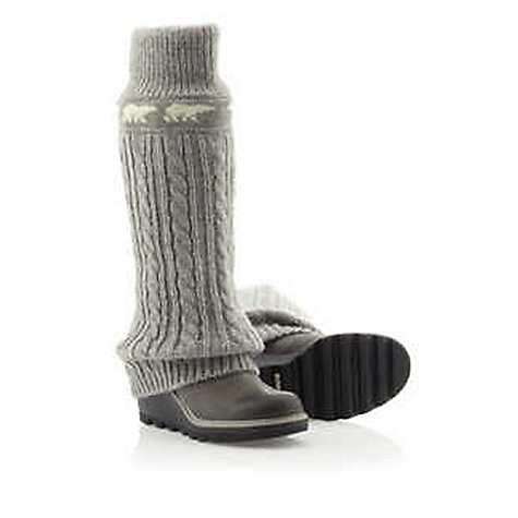 "Free Shipping. Sorel Women's Crazy Cable Wedge DECENT FEATURES of the Sorel Women's Crazy Cable Wedge Leg-warmer knit upper Full-grain leather shell Molded rubber outsole 4"" heel with 1"" offset 15 in / 38 cm shaft height The SPECS Weight: 26.5 oz / 751 g UPPER: Knit OUTSOLE: Molded rubber - $319.95"
