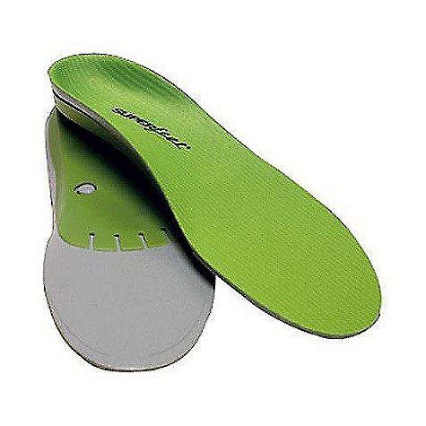 Ski Superfeet Men's Green Insoles - Medium to High Arch FEATURES of the Superfeet Men's Green Insoles - Medium to High Arch Wide and deep heel cup offers maximum support and can help with natural shock absorption Biomechanical shape helps stabilize and support the foot, which can help reduce stress on feet, ankles and knees All-natural, organic coating eliminates odor-causing bacteria Bottom stabilizer cap acts of the base of the insole that supports the rear foot and provides structure and stability to the foam layer High-density, closed-cell foam supports and cushions the foot for comfort during daylong activities High profile and high volume support insole is Superfeet's most famous and popular insole Designed to provide the best fit in all types of medium and high-volume footwear with removable insoles Ideal for improving the support in your running shoes, casual footwear, and work or hiking boots. Combines heavy-duty shock absorption and unbeatable support that allow you and your feet to feel strong after a day of activity Proven product design has not changed much in over 25 years. It's just that good, you guys. Offers professional-grade orthotic support, performance and comfort Green insoles are vegan and completely free of latex, nickel sulfate, formaldehyde and preservatives Covered by Superfeet's 60 Day Comfort Guarantee Superfeet ADD/APT System Origins trace all the way back to Superfeet's start as the Sports Medicine Division of the the Northwest Podiatric Laboratory in 1974. Bunch of smarty pants. Encompasses the biomechanical science, technology, function and craftsmanship that adjust footwear's existing flat, 2-dimensional midsole to support your 3-dimensional feet - $44.95