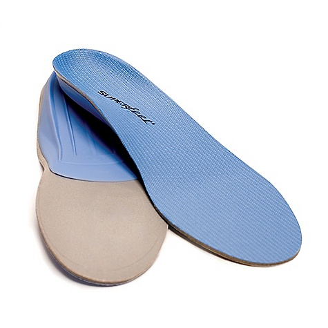 Camp and Hike Superfeet Juniors' Blue Insoles FEATURES of the Superfeet Juniors' Blue Insoles A thinner, high-performance insole that works with a wide range of footwear to help improve the fit Structured heel cup maximizes natural shock absorption thanks to the way it encapsulates and positions the soft tissue under the heel The rearfoot support towards the back of your arch and the front of your heel is the Superfeet shape stabilizing the rearfoot, providing all day comfort even after the most active of days Bottom stabilizer cap acts of the base of the insole that supports the rear foot and provides structure and stability to the foam layer Medium profile insole that fits most footwear while still providing quick and immediate support when you need it most Designed primarily for tighter fitting footwear, the Blue by Superfeet is their most versatile product because it takes up less space in the shoe Super versatile for most types of low to medium volume footwear, and can even be worn in shoes without removable insoles. So great. Offers professional-grade orthotic support, performance and comfort Blue insoles are vegan and completely free of latex, nickel sulfate, formaldehyde and preservatives To make these even better, they feature an all natural antimicrobial coating that helps prevent the growth of odor-causing bacteria Covered by Superfeet's 60 Day Comfort Guarantee Superfeet ADD/APT System Origins trace all the way back to Superfeet's start as the Sports Medicine Division of the the Northwest Podiatric Laboratory in 1974. Bunch of smarty pants. Encompasses the biomechanical science, technology, function and craftsmanship that adjust footwear's existing flat, 2-dimensional midsole to support your 3-dimensional feet - $44.95