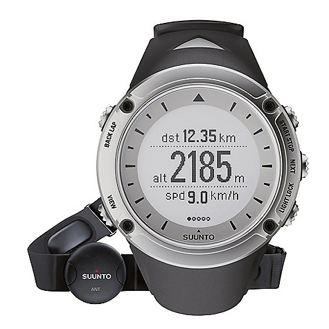 Camp and Hike Free Shipping. Suunto Ambit HR Watch DECENT FEATURES of the Suunto Ambit HR Pack Includes Suunto Ambit, Suunto ANT Comfort Belt, USB power cable, and Quick Guide Full-featured GPS with Waypoint navigation Unique 3D compass Accurate barometric altitude Barometer Temperature Highly responsive pace and speed (FusedSpeed) with accelerometer integrated GPS Accurate vertical speed with barometric altimeter Advanced heart rate monitoring with Peak Training Effect and Recovery Time Online sports diary with planning and analysis tools in Movescount.com Compatible with Suunto Bike and Cadence PODs Robust Built-To-Last casing Enhanced battery lifetime Outdoor mode 50h - with longer GPS tracking interval, suitable for e.g hiking Training mode 15h - with shorter GPS tracking interval, suitable for e.g running Watch mode 30 days - watch mode including ABC functions 100 m / 328 ft water resistant (ISO 2281) Upgradeable with new functionality through Movescount.com The SPECS Backlight option for night use Backlight type: Led Dot-matrix display Menu-based user interface Mineral crystal glass Operating temperature: -20degC - +60degC / -5degF - +140degF Selectable metric/imperial units Storage temperature: -30degC - + 60degC / -22degF - +140degF User replaceable straps Water resistance: 100 m / 328 ft Weight: 78 g / 2.75 oz Altimeter Altitude range -500 m - 9000 m / -1600 ft - 29500 ft Automatic Alti/Baro switch Real-time vertical cumulative value Recording intervals: 1 s, 10 s Resolution: 1 m Total Ascent Descent Vertical speed Temperature compensation Chronograph Laps (manual and automatic) Compass 3D digital compass Cardinal directions Declination setting Guided calibration Heading in degrees North-South indicator: North indicator Computer connectivity (PC and MAC) Viewing and visualizing tracks and altitude profiles in Movescount.com Training data transfer and analysis through Movescount.com (with USB cable) GPS Distance Speed Waypoints: 100 Tracks Heart Rate ANT - digital coded heart rate signal Average HR in real time Calories in real time HR in real time HR limits and HR zones Recording intervals: Beat by beat Heart Rate Belts Suunto Comfort Belt (ANT Coded) Power Battery power indicator Low battery warning Rechargeable battery Special Button lock Compatible with PODs Customizable display Languages: Menu in English (DE, ES, FR available through Movescount.com) Training and Exercise Guidance Recovery time suggestion after exercise Peak Training Effect in real time and in Movescount.com Watch 12/24h Alarm Snooze Calendar clock Daily alarms: 1 Dual time Weather Barometer range: 950-1060 hPa / 28.34-31.30 inHg Barometer resolution: 1 hPa / 0,03 inHg Sea level pressure Temperature Temperature resolution: 1degC / 1degF Trend graph - $413.00