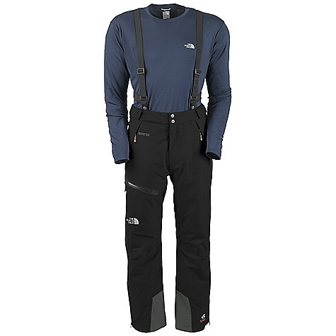 Free Shipping. The North Face Men's Mountain Pant DECENT FEATURES of The North Face Men's Mountain Pant Performance fit Waterproof, breathable, seam sealed Removable and adjustable front-attach-only suspender system Velcro adjustable waistband with tricot lining Zip-fly with Velcro and snap closure Full-length polyurethane (PU) side zips Two hand pockets Thigh polyurethane (PU) zip pocket Elastic gaiter with snap and Velcro closure Keprotec ankle kick patch The SPECS Average Weight: 30.0 oz / 850 g Inseam: regular Body: 75D 142 g/m2 (4.2 oz/yd2) 100% polyester plain weave Gore-Tex Performance Shell 2L Abrasion: 190 g/m2 (5.6 oz/yd2) Keprotec-72% nylon, 28% Kevlar This product can only be shipped within the United States. Please don't hate us. - $299.00