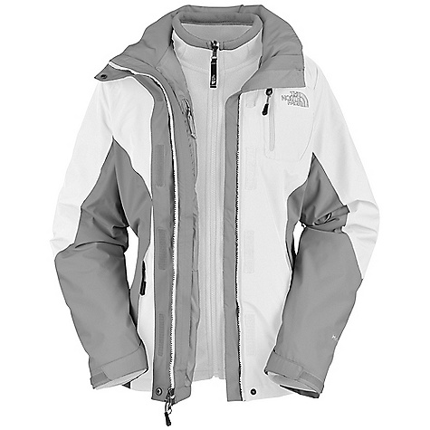 Free Shipping. The North Face Women's Atlas Triclimate Jacket DECENT FEATURES of The North Face Women's Atlas Triclimate Jacket Standard fit Waterproof, breathable, seam-sealed Fully adjustable, removable hood Patch-on Napoleon chest pocket Brushed chin guard lining Center front stormflap with zip and Velcro closure Pit-zip vents Two hand pockets Internal chest pocket Velcro adjustable cuffs Hem cinch-cord (Triclimate) 200 weight fleece Two hand pockets The SPECS Average Weight: 42.5 oz / 1205 g Center Back: 27in. Fabric: Body: 75D 129 g/m2 (3.8 oz/yd ) 100% polyester ripstop HyVent 2L, Insulation: 200 weight fleece Triclimate This product can only be shipped within the United States. Please don't hate us. - $230.00