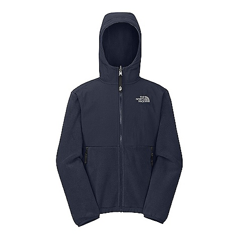 Free Shipping. The North Face Boys' Denali Hoodie DECENT FEATURES of The North Face Boys' Denali Hoodie Zip-in and snap-in compatible Fixed hood Abrasion-reinforced shoulders, chest and elbows Zip hand pockets Elastic binding at cuffs Encased elastic at hem ID label Embroidered logo at left chest and back right shoulder The SPECS Average Weight: 17.6 oz / 498 g Center Back Length: 22.5in. Body: 330 g/m2 Recycled Polartec 300 Series polyester fleece with DWR finish Abrasion: 118 g/m2 160D 100% nylon Taslan with DWR finish This product can only be shipped within the United States. Please don't hate us. - $118.95