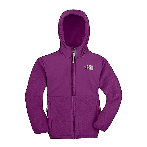 On Sale. Free Shipping. The North Face Girls' Denali Hoodie DECENT FEATURES of The North Face Girls' Denali Hoodie Zip-in and snap-in compatible Abrasion-reinforced shoulders, chest and elbows Fixed hood Zip hand pockets Elastic binding at cuffs Encased elastic at hem ID label Embroidered logo at left chest and back right shoulder The SPECS Average Weight: 17.6 oz / 498 g Center Back Length: 22.5in. Body: 330 g/m2 Recycled Polartec 300 Series polyester fleece with DWR finish Abrasion: 70D x 160D 118 g/m2 100% nylon Taslan with DWR finish This product can only be shipped within the United States. Please don't hate us. - $88.99