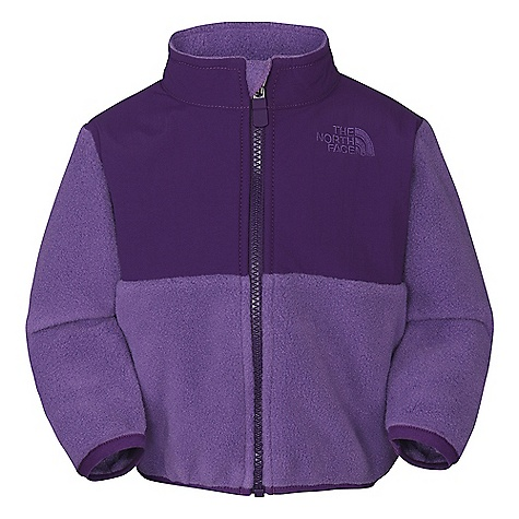 On Sale. Free Shipping. The North Face Infant Denali Jacket DECENT FEATURES of The North Face Infant Denali Jacket Abrasionreinforced shoulders, chest and elbows Zip hand pockets Elastic binding at cuffs Encased elastic at hem Taffeta sleeve lining for ease of arm entry ID label Embroidered logo at left chest and back right shoulder The SPECS Average Weight: 4.8 oz / 136 g Center Back Length: 12.75in. Body: 330 g/m2 Recycled Polartec 300 Series polyester fleece with DWR finish Abrasion: Solid: 118 g/m2 160D 100% nylon Taslan with DWR finish, Printed: 50D 100% polyester taffeta with print and DWR This product can only be shipped within the United States. Please don't hate us. - $39.99