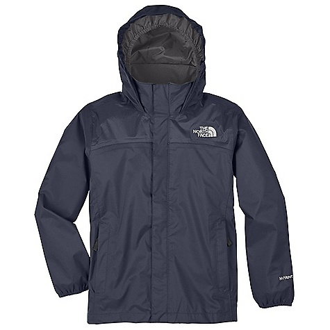 Free Shipping. The North Face Boys' Resolve Jacket DECENT FEATURES of The North Face Boys' Resolve Jacket Waterproof, breathable, fully seam sealed Mesh-lined body Brushed collar lining Hood stows in collar Zip hand pockets Center front zip and Velcro closure Elasticized cuffs Chin guard flap ID label Embroidered logo at left chest and back right shoulder The SPECS Average Weight: 12.7 oz / 360 g Center Back Length: 24.25in. Body: 70D 106 g/m2 100% nylon ripstop HyVent 2L Lining: 50D 50 g/m2 100% polyester small-hole mesh This product can only be shipped within the United States. Please don't hate us. - $64.95
