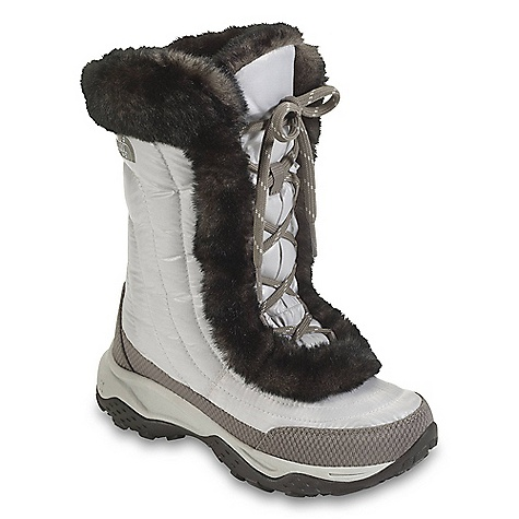 Skateboard The Girls' Nuptse Fur II Boot by The North Face. A winter walk-around favorite that delivers down warmth and exquisite comfort in a durable, day-to-day construction. Features of The North Face Girls' Nuptse faux fur II Boot Upper: Durable, water-resistant, element-shedding, 100% Recycled P.E.T. ripstop Upper Plush faux fur lining 500 fill power down Insulation Abrasion-resistant rand Bottom: Durable TNF Winter Grip rubber Outsole Midfoot nylon shank Cushioned, lightweight, compression-molded EVA Midsole - $46.99