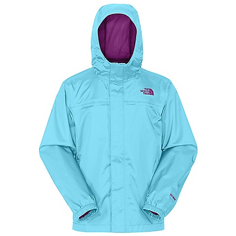 Free Shipping. The North Face Girls' Zipline Rain Jacket DECENT FEATURES of The North Face Girls' Zipline Rain Jacket Waterproof, breathable, fully seam sealed Mesh-lined body Brushed collar lining Fixed hood Center front zip and Velcro closure Elasticized cuffs Chin guard flap ID label Embroidered logo at left chest and back right shoulder The SPECS Average Weight: 8.5 oz / 240 g Center Back Length: 22.5in. Body: 70D 82 g/m2 100% nylon plain weave HyVent 2L (bluesign approved fabric) Lining: 50D 50 g/m2 100% polyester small-hole mesh This product can only be shipped within the United States. Please don't hate us. - $54.95