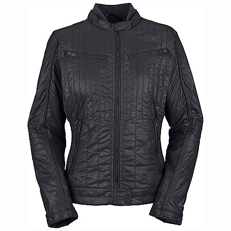 On Sale. Free Shipping. The North Face Women's Midori Moto Jacket DECENT FEATURES of The North Face Women's Midori Moto Jacket Quilted body Rib at collar Two zippered chest pockets Two zippered hand pockets with media egress at left-hand pocket Snap-down adjustable collar and cuffs Snap closure at hem band Embroidered logo at left chest and back right shoulder Imported The SPECS Average Weight: 15 oz / 430 g Center Back Length: 24in. Body: 40D 60 g/m2 100% nylon taffeta with DWR Lining: 40D 70 g/m2 100% nylon taffeta Insulation: 80 g Heatseeker Eco This product can only be shipped within the United States. Please don't hate us. - $104.99
