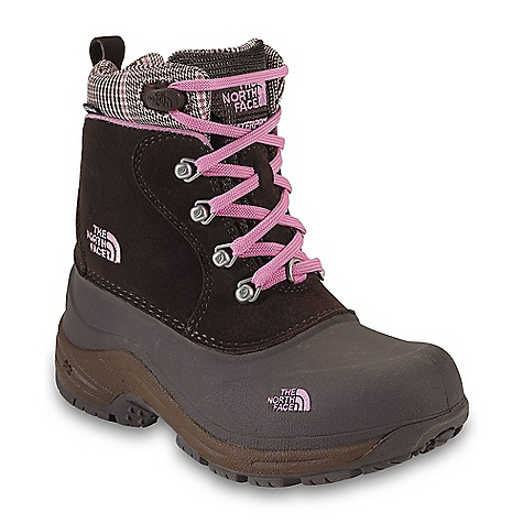 On Sale. Free Shipping. The North Face Girls' Chilkats Lace Boot DECENT FEATURES of The North Face Girls' Chilkats Lace Boot Upper: Waterproof construction for ultimate weather protection 1.4-1.6 mm waterproof pig suede 200 g Heat seeker insulation Fleece lining Dual-density X-2 foot bed Easy flow-through laces Bottom: TPR shell bottom with durable rubber outsole The SPECS Last: TNF-008 Comfort Range: -25deg F / -32deg C Approx Weight: 1/2 pair: 15.2 oz / 431 g, pair: 1 lb 14 oz / 862 g This product can only be shipped within the United States. Please don't hate us. - $41.99