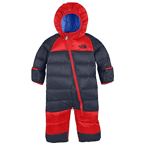 Free Shipping. The North Face Infant Lil' Snuggler Down Bunting FEATURES of The North Face Infant Lil' Snuggler Down Bunting Asymmetrical front zip for easy entry and exit Quilted body Elastic binding at cuffs and hood Fold-over mitts and booties Legs zip together to convert to a sack Embroidered logo at left chest and back right shoulder - $129.95