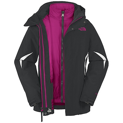Ski On Sale. Free Shipping. The North Face Girls' Boundary Triclimate Jacket DECENT FEATURES of The North Face Girls' Boundary Triclimate Jacket Waterproof, breathable, fully seam sealed Zip-in and snap-in compatible Removable hood Internal media pocket Zip hand pockets Key clip Glove clip Powder skirt Goggles cloth Adjustable drawcord system at hem Adjustable cuff tabs with Velcro closure System map on interior of garment outlines jacket features ID label Embroidered logo at left chest and back right shoulder The SPECS Average Weight: 33.9 oz / 960 g Center Back Length: 23.5in. Outer Jacket Body: 75D 110 g/m2 100% polyester plain weave HyVent 2L Outer Jacket Lining: 100% polyester mesh Liner Jacket Body: 100% nylon taffeta Liner Jacket Insulation: 150 g Heatseeker Aero This product can only be shipped within the United States. Please don't hate us. - $129.99
