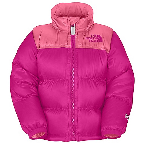 On Sale. Free Shipping. The North Face Infant Throwback Nuptse Jacket DECENT FEATURES of The North Face Infant Throwback Nuptse Jacket Quilted body Full-zip front Sewn-through construction Elastic binding at cuffs Embroidered logo at left chest and back right shoulder Imported The SPECS Average Weight: 7.76 oz / 220 g Center Back Length: 13.5in. Body: 20D 42 g/m2 100% polyester rip stop with DWR Lining: 50D 76 g/m2 100% recycled polyester taffeta with DWR Insulation: 550 fill down This product can only be shipped within the United States. Please don't hate us. - $33.99
