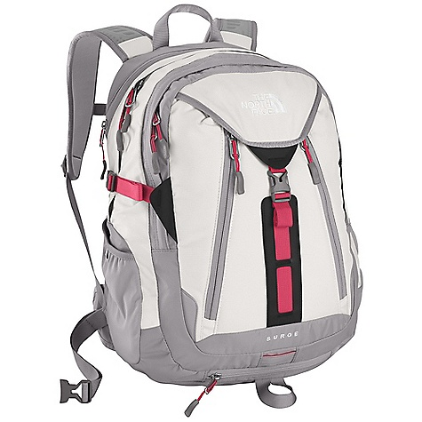 Camp and Hike On Sale. Free Shipping. The North Face Women's Surge Backpack DECENT FEATURES of The North Face Women's Surge Backpack Endorsed by the American Chiropractic Association (ACA) Women specific, FlexVent injection molded shoulder straps with a top layer of Atilon foam for added support Comfortable padded Chemise back panel with Spine Channel and PE sheet for extra back support Padded, winged, stowable hipbelt BackSaver bottom panel Zippered, dedicated, padded laptop compartment Large main compartment Secondary compartment with organization Frontside, secure electronics organization pocket Zippered, padded bottom power cord pocket Stretch woven side water bottle pockets Women-specific fit Safety whistle located on chest buckle Compatible with most 15in. laptops Imported The SPECS Average Weight: 3 lbs / 1360 g Volume: 1830 cubic inches / 30 liter Dimension: 18.5 x 13 x 9.5in. / 47 x 33 x 24 cm 420D nylon 1680D ballistics nylon This product can only be shipped within the United States. Please don't hate us. - $86.99