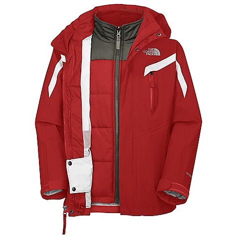 On Sale. Free Shipping. The North Face Boys' Boundary Triclimate Jacket DECENT FEATURES of The North Face Boys' Boundary Triclimate Jacket Waterproof, breathable, fully seam sealed Removable hood Zip-in and snap-in compatible Welted zippered handwarmer pockets Infused Napoleon pocket with PU zip Goggle cloth Internal media pocket Glove clip Key clip Tuck-away powder skirt Adjustable drawcord system at hem Adjustable cuff tabs with Velcro closure System map on interior of garment outlines jacket features Chin guard flap Liner jacket: Hand pockets The SPECS Fabric: Body: HyVent 2L-100% nylon faille weave, bluesign approved, Lining: 100% polyester mesh, liner jacket: 100% polyester with 150 g Heatseeker Aero insulation This product can only be shipped within the United States. Please don't hate us. - $119.99