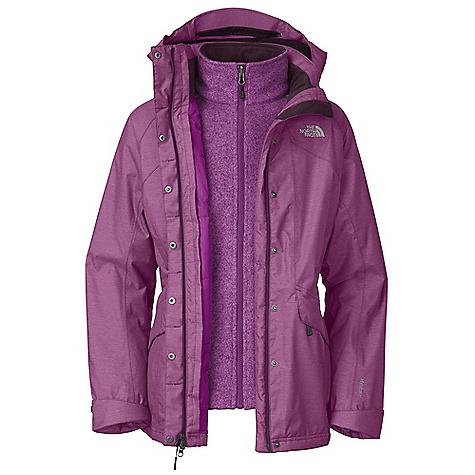 On Sale. Free Shipping. The North Face Women's Kalispell Insulated Triclimate Jacket DECENT FEATURES of The North Face Women's Kalispell Insulated Triclimate Jacket Standard Fit Waterproof, breathable, seam sealed Zip-in compatible integration with complementing garments for The North Face Fully adjustable, removable hood Brushed collar lining for comfort Center front zip and snap-down storm flap closure Two secure zip hand pockets Pit-zip vents Foldable cuff for extra coverage Hem cinch-cord (Triclimate) 300 weight sweater knit fleece Two secure zip hand pockets Imported The SPECS Average Weight: 52.56 oz / 1490 g Center Back Length: 29in. Body: 70D 142 g/m2 (4.19 oz/yd2) 71% nylon, 29% polyester denim look HyVent 2L twill Insulation: 80 g Heatseeker in body and 60 g in sleeves and hood, Triclimate: 300 weight sweater fleece This product can only be shipped within the United States. Please don't hate us. - $201.99