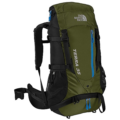 Climbing Free Shipping. The North Face Terra 35 Pack DECENT FEATURES of The North Face Terra 35 Pack Deluxe vertical mesh channel on back panel provides cooling comfort Cushy shoulder harness is sleek and anatomical Improved, anatomically correct, load-spreading hipbelt is lined with soft tricot Improved zippered sleeping-bag-compartment access The SPECS Average Weight: 3 lbs 10 oz / 1650 g Volume: 2150 cubic inches / 35 liter Dimension: 25.5 x 13 x 6.75in. / 65 x 34 x 17 cm 420D nylon, 420D mini-ripstop polyester Stays: Aluminum Frame Sheet: Yes Access: Top, Side, Sleeping Bag H20 Compatible: Yes This product can only be shipped within the United States. Please don't hate us. - $138.95