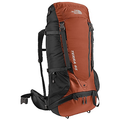 Camp and Hike Free Shipping. The North Face Terra 65 Pack DECENT FEATURES of The North Face Terra 65 Pack Optifit suspension fit system ensures comfort Deluxe vertical mesh channel on back panel provides cooling comfort Cushy shoulder harness is sleek and anatomical Improved, anatomically correct, load-spreading hipbelt is lined with soft tricot Huge zippered side entry to main compartment Improved zippered sleeping-bag-compartment access The SPECS 420D nylon, 420D mini-ripstop polyester Suspension: Optifit-X Stays: Aluminum Frame Sheet: Yes Access: Top, Side, Sleeping Bag H20 Compatible: Yes The SPECS for Medium Average Weight: 4 lbs 11 oz / 2140 g Dimension: 31 x 14 x 9.25in. / 80 x 35.5 x 23.5 cm Volume: 3850 cubic inches / 63 liter The SPECS for Large Average Weight: 5 lbs 1 oz / 2340 g Dimension: 31 x 14 x 9.25in. / 80 x 35.5 x 23.5 cm Volume: 3950 cubic inches / 65 liter OVERSIZE ITEM: We cannot ship this product by any expedited shipping method (3-Day, 2-Day or Next Day). Even if you pick that option, it will still go Ground Shipping. Sorry for being so mean. This product can only be shipped within the United States. Please don't hate us. - $168.95